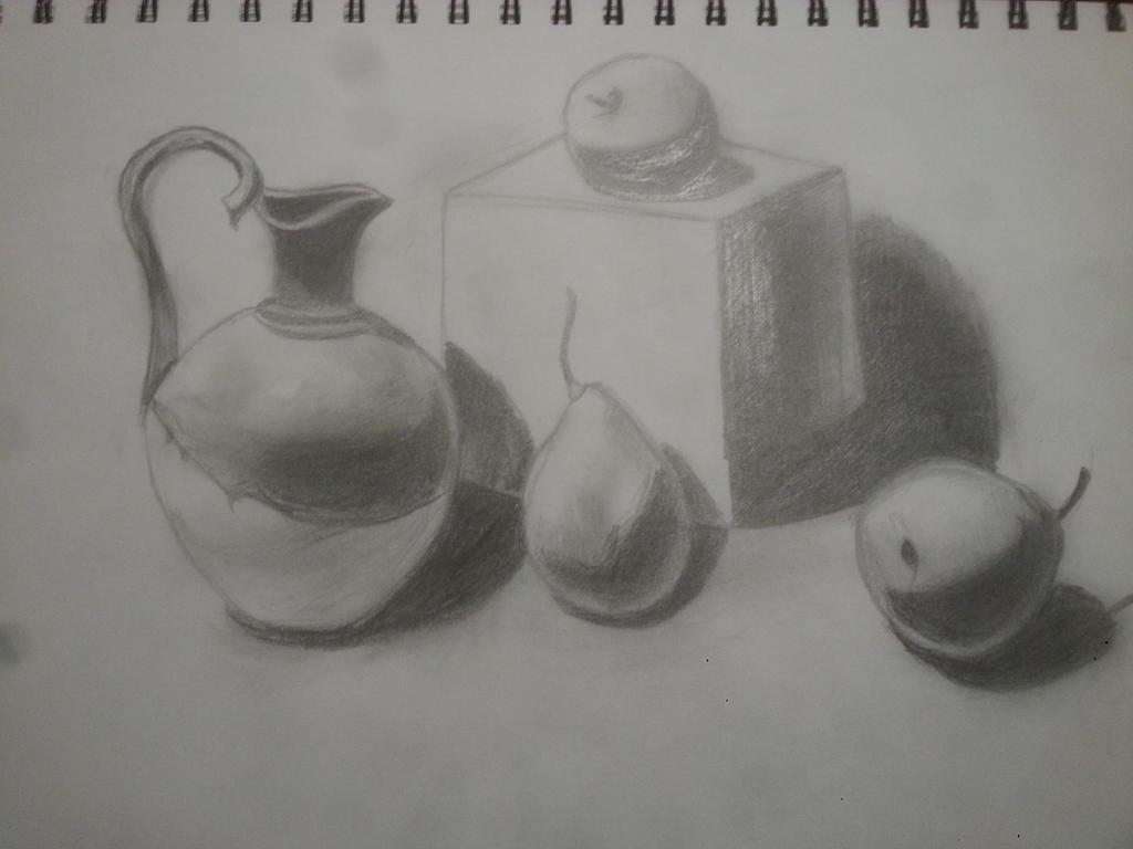Pencil sketch fruit and jar by jingtingwei