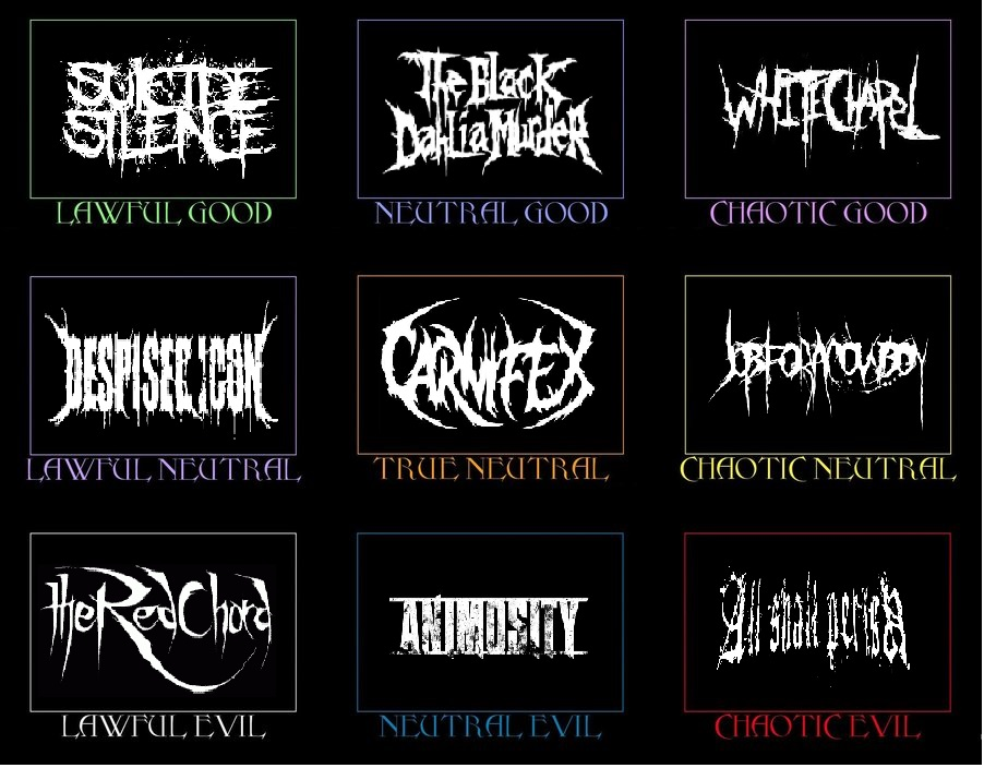 Metal Alignment : Character alignment chart deathcore by hicbar on deviantart