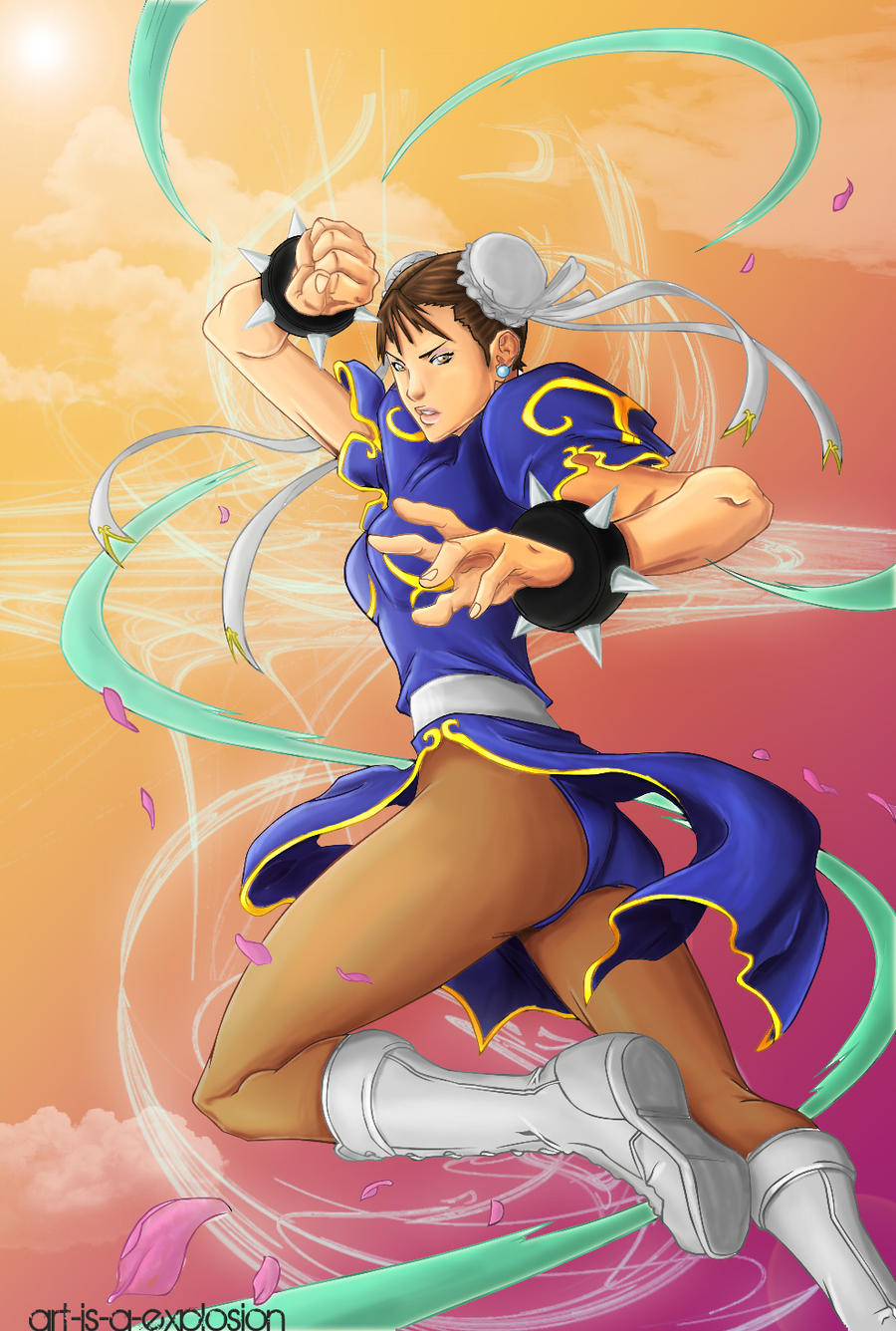 Chun Li in the air by Art-is-a-Explosion
