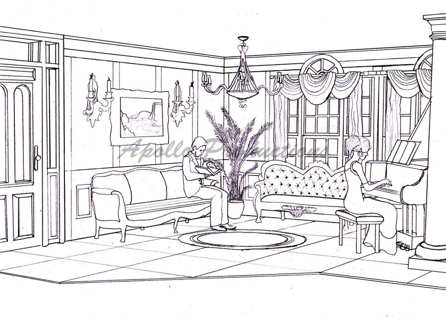 Elegant Living Rooms Elegant Living Room Sketch by