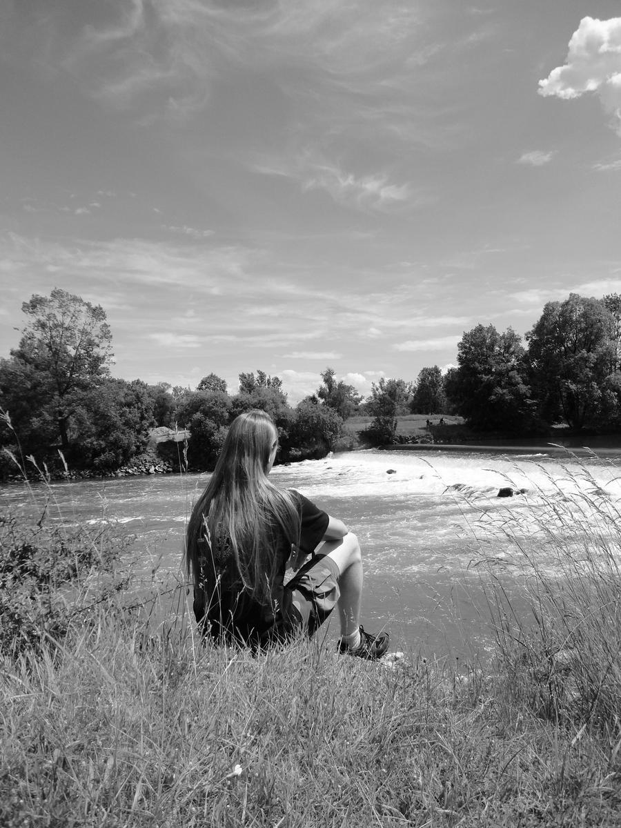 Self-portrait with river 2011 by mjolnirrunestone