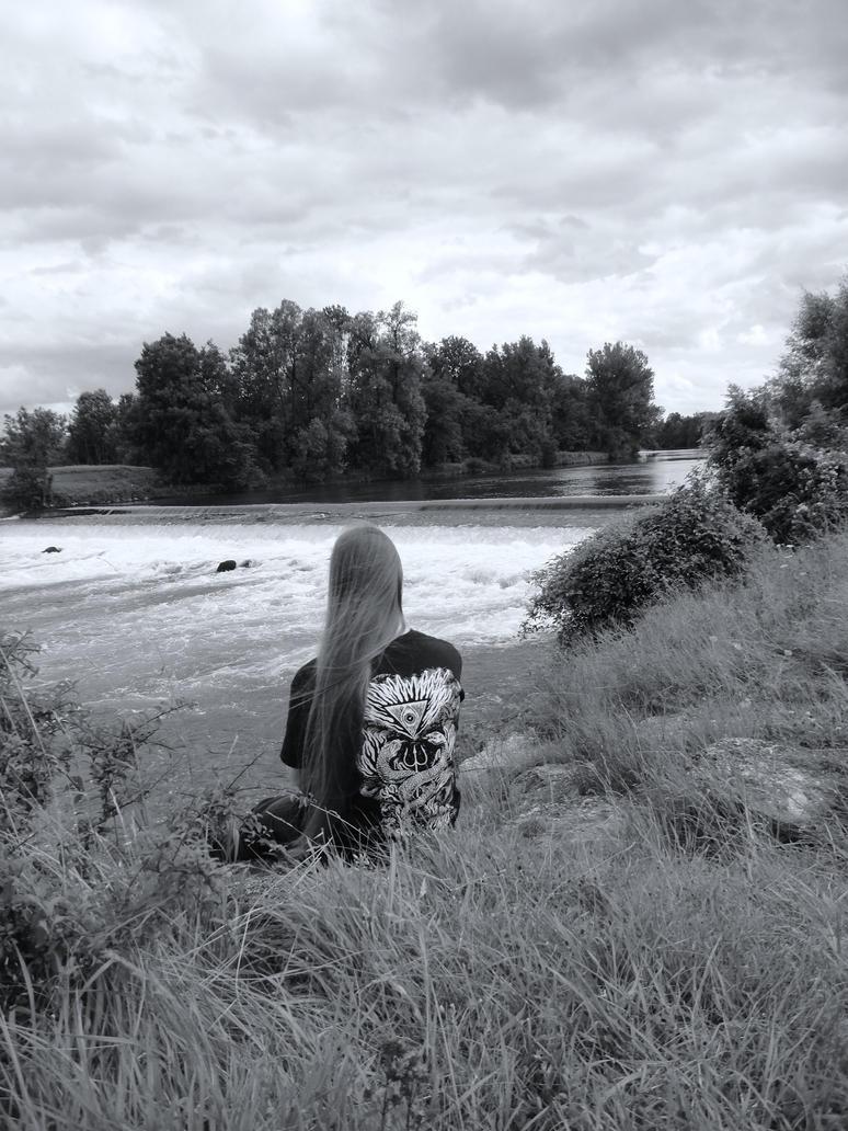 Self-portrait with river 2012 by mjolnirrunestone