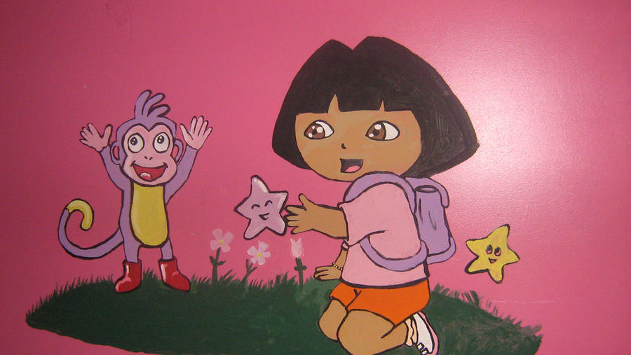 dora wall mural by coffeecakepuppy on deviantart
