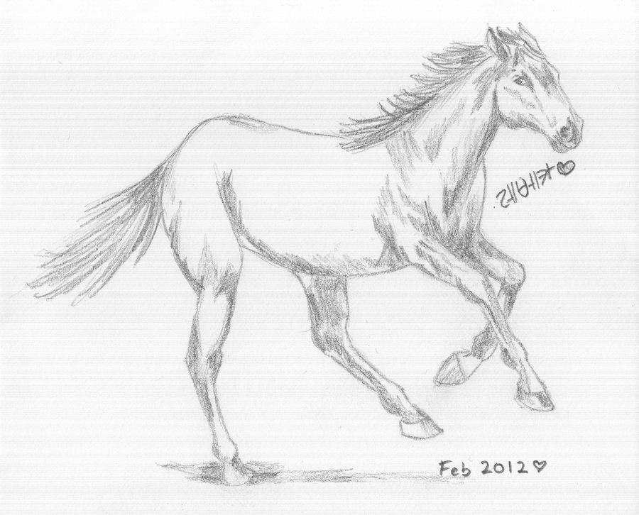 Horses running drawing
