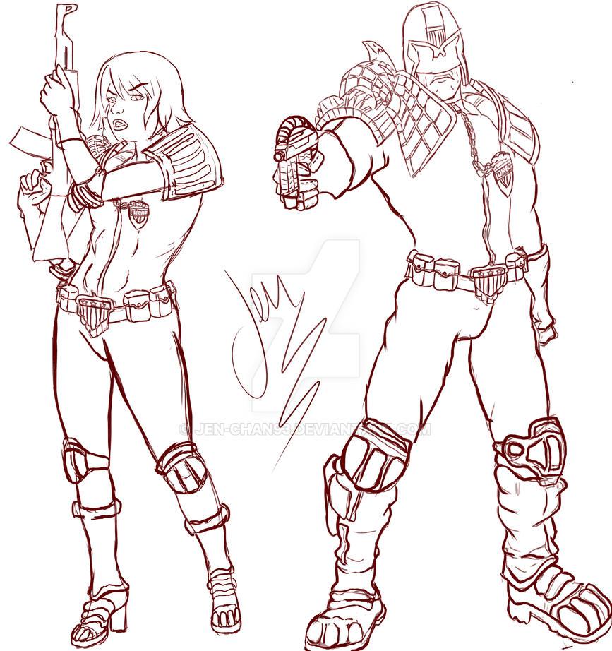 Fan Art Judge Dredd and Judge Anderson by Jen-Chan93