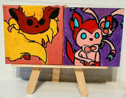 Magnets: Sylveon 01 and Flareon 01 by wolf-girl87