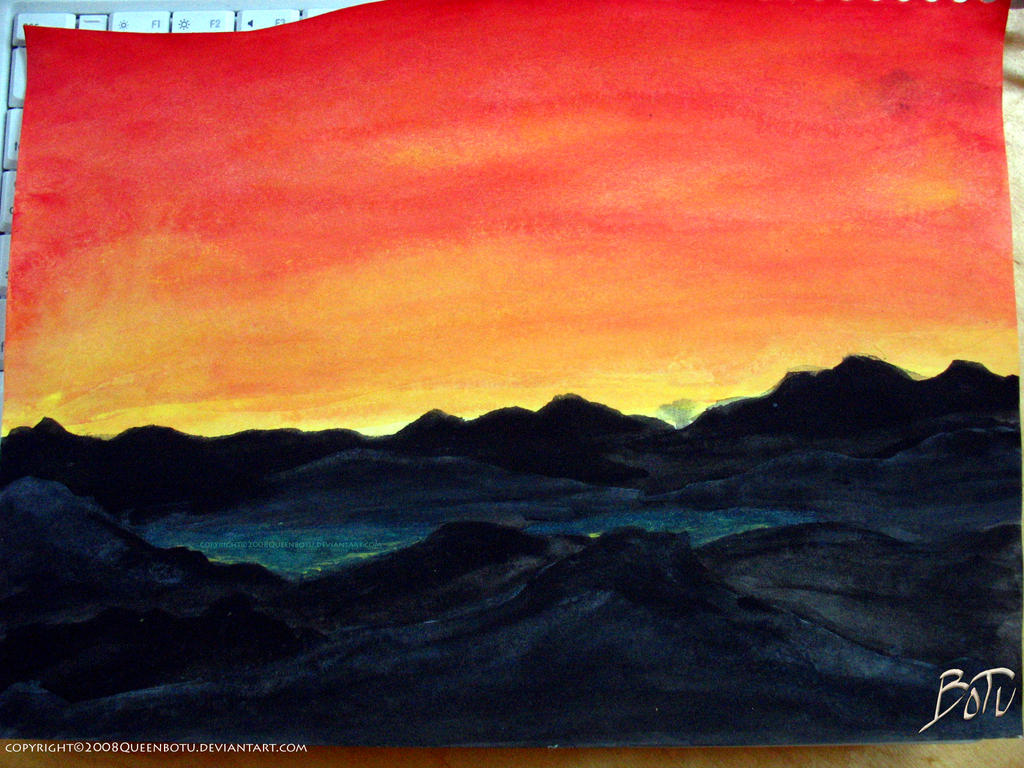 Mountain Sunset Watercolor
