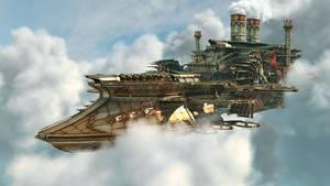 steampunk flying aircraft