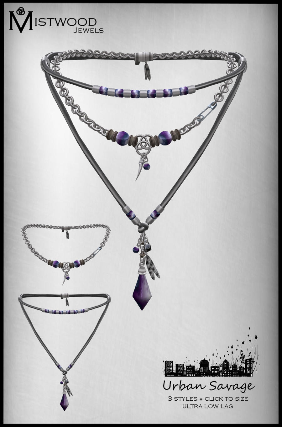 Urban Savage - Necklace amethyst version by Aedil