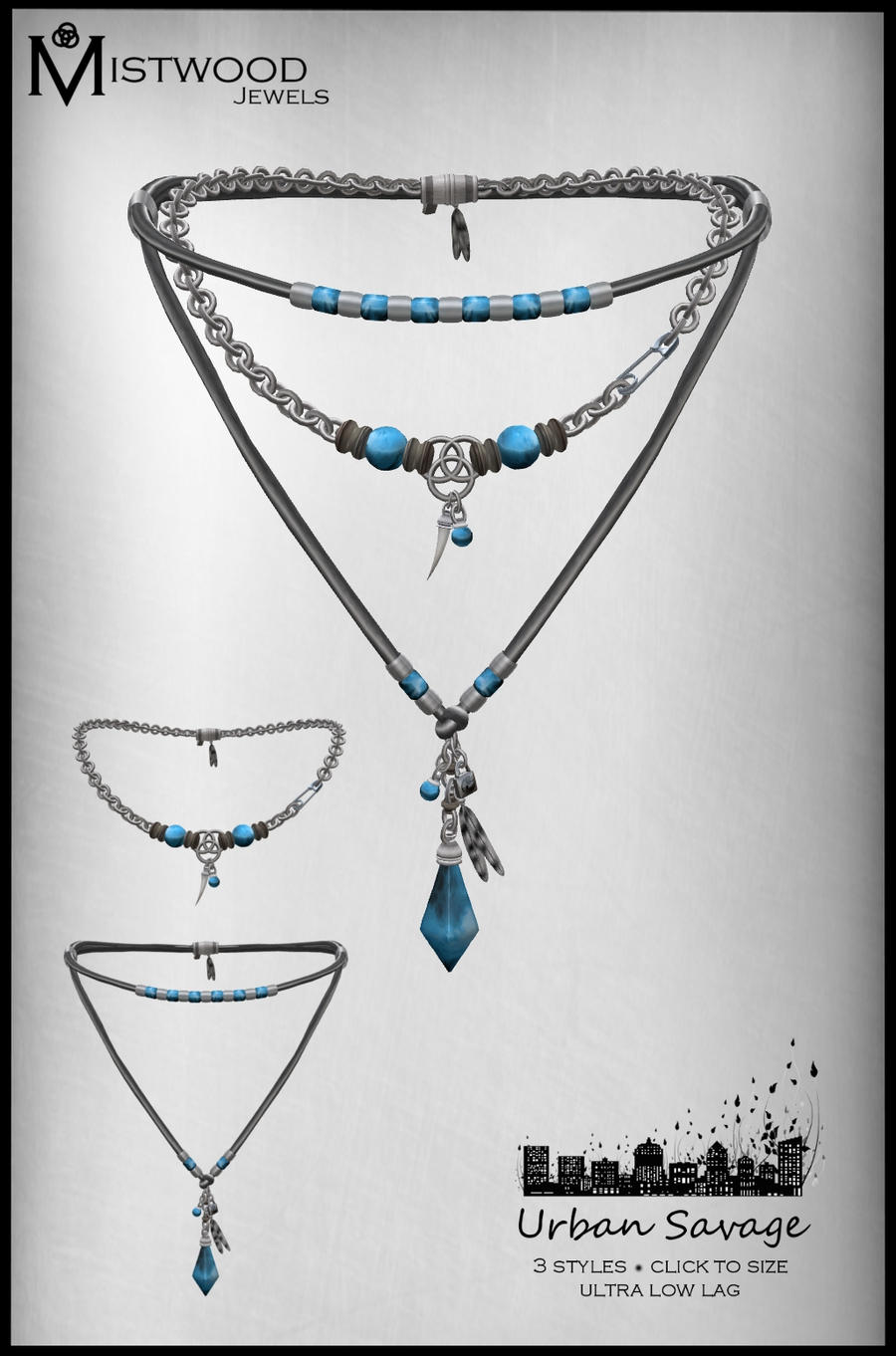 Urban Savage - Necklace aquamarine version by Aedil