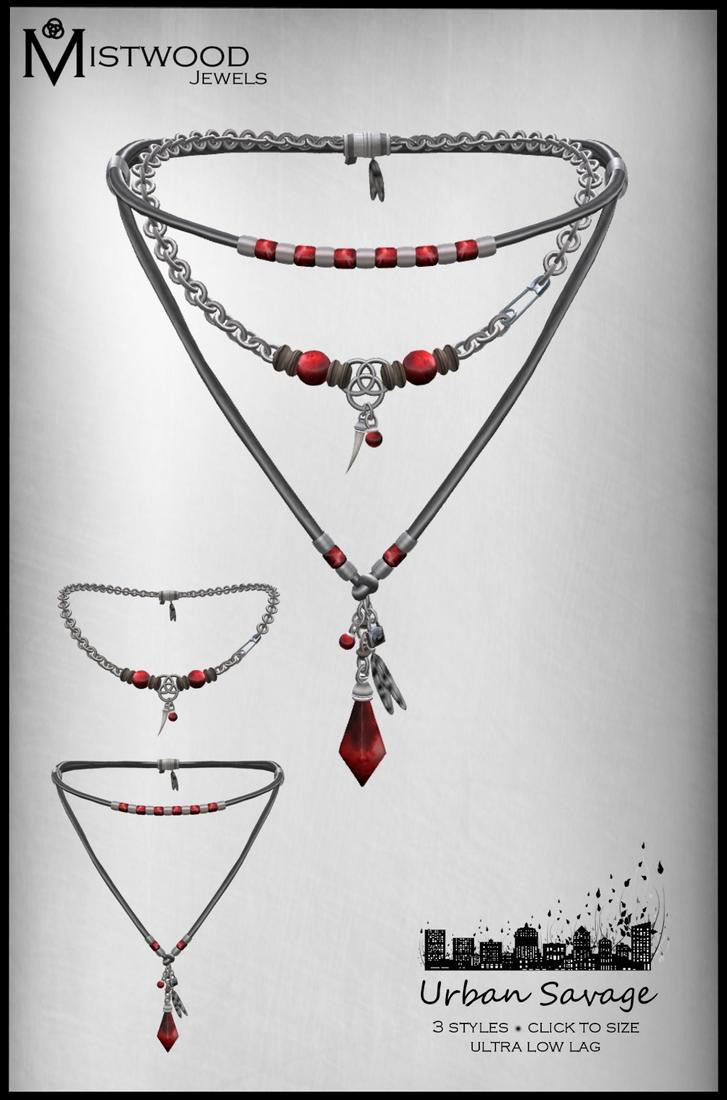 Urban Savage - Necklace garnet version by Aedil