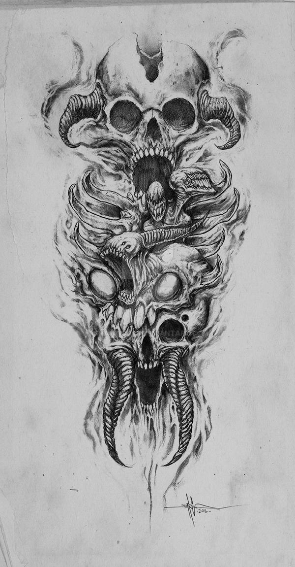 skully demon abomination sleeve by shawncoss on deviantart. Black Bedroom Furniture Sets. Home Design Ideas