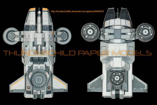 Mass Effect Hammerhead Paper model Top and Bottom
