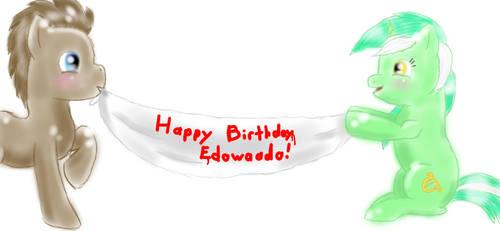 Happy Birthday doodle for Edowaado! by DragonsAndDreamscape