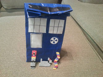 Duct Tape TARDIS lunch sack+Fourth Doctor charms