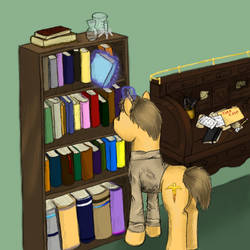 John and the bookcase by DragonsAndDreamscape