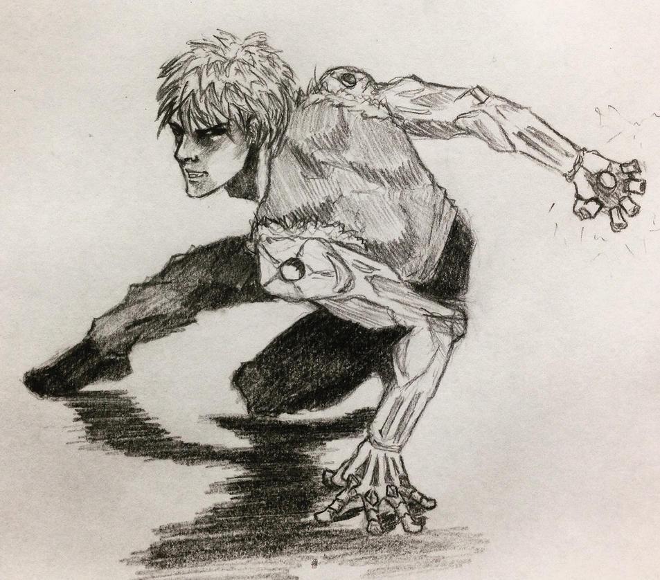 Genos Demon Cyborg sketch by ninjason57