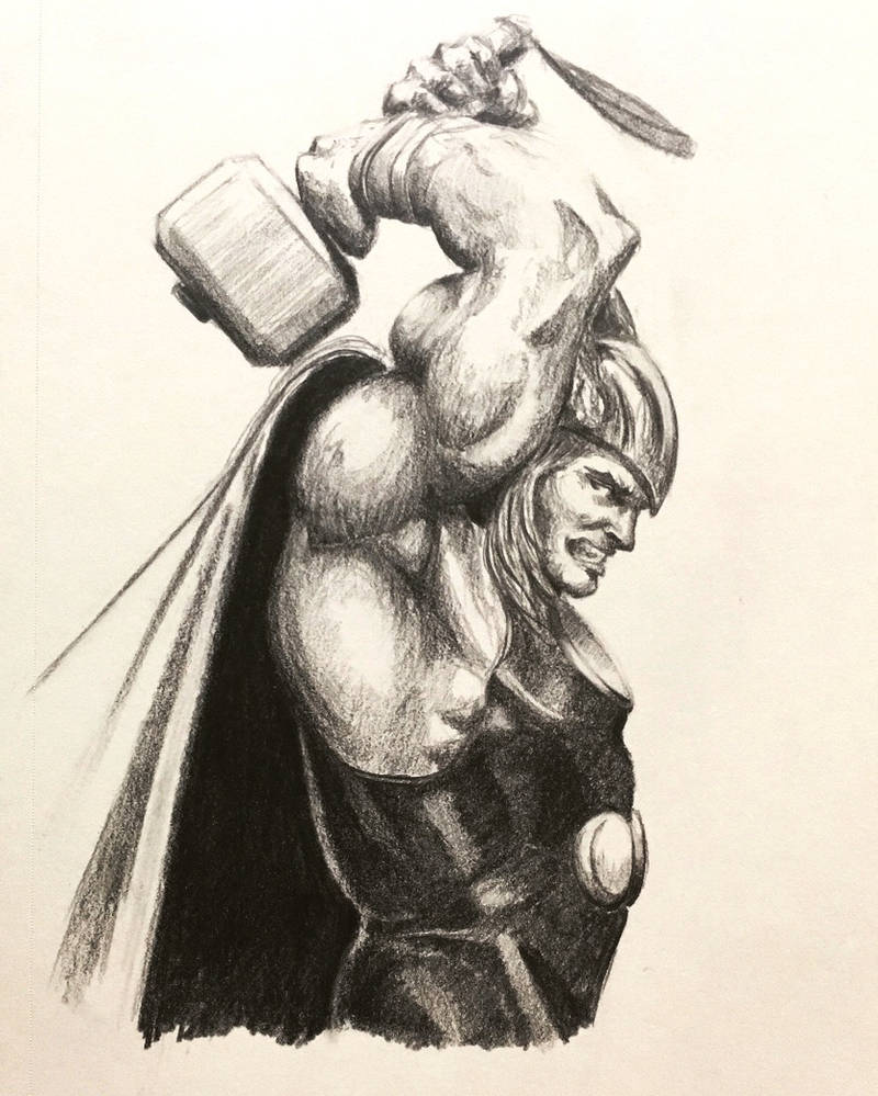 Thor god of thunder sketch 2017 by ninjason57