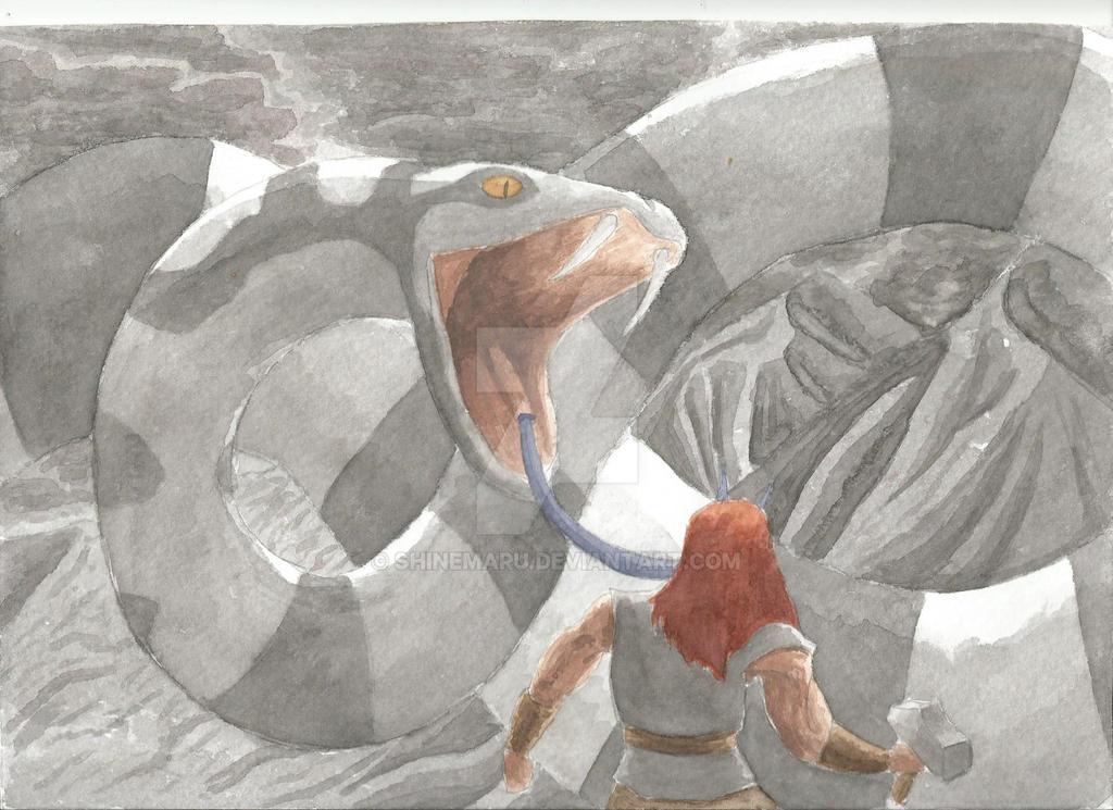 Jomungandr ataca a Thor. Jomugandr attacks Thor by Shinemaru
