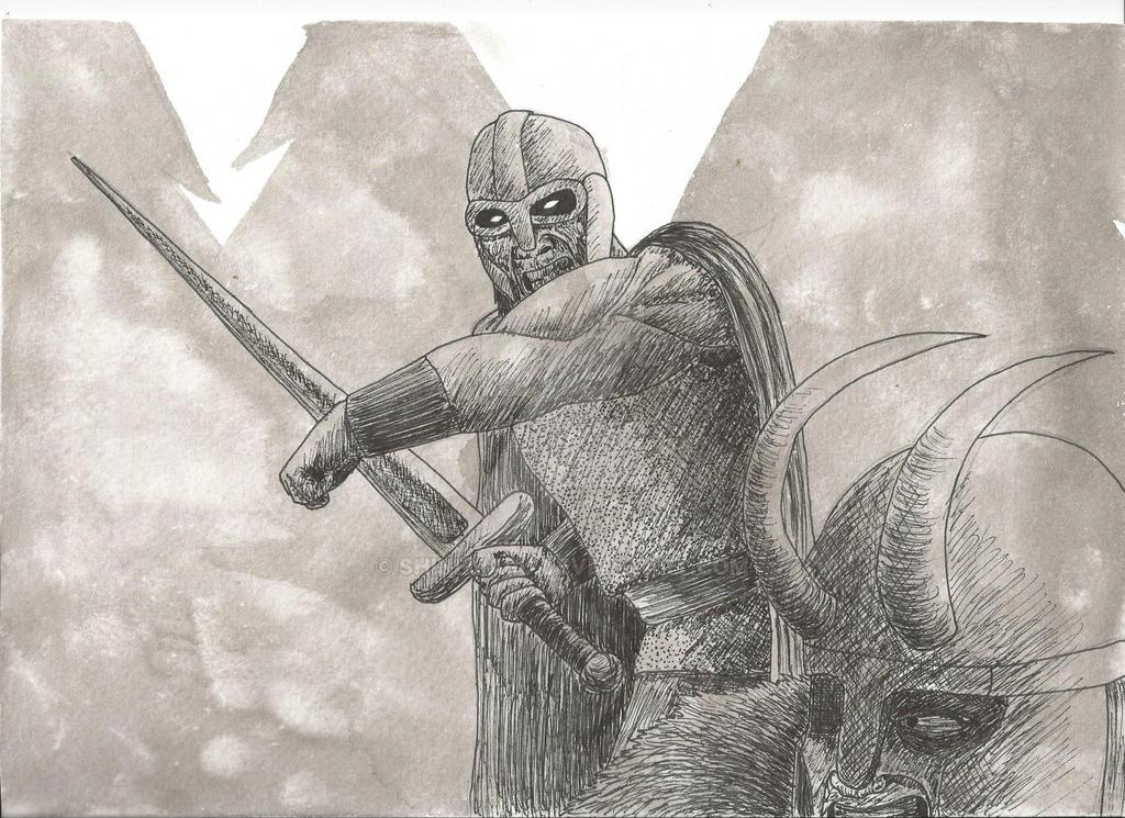 Heimdall lucha contra Loki. Heimdall fights Loki by Shinemaru