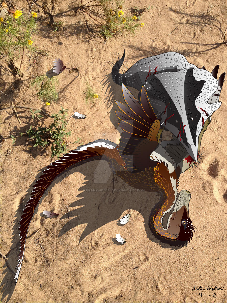 Fighting Dinosaurs--Velociraptor and Protoceratops by Franz-Josef73