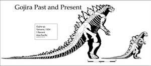 Gojira (Godzilla) Skeleton Past and Present