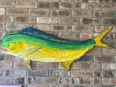 dolphin or mahi mahi painted wood patio art