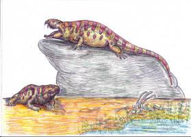 Sphenacodon ferox: lazy killer by Xiphactinus