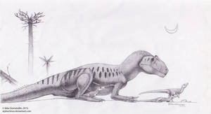 Mother Allosaurus by Xiphactinus
