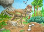 Tyrannosaurus rex and Troodon