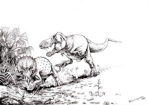 Tyrannosaurus rex hunts Triceratops subadult