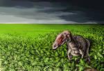Allosaurus jimmadseni in fern prairie