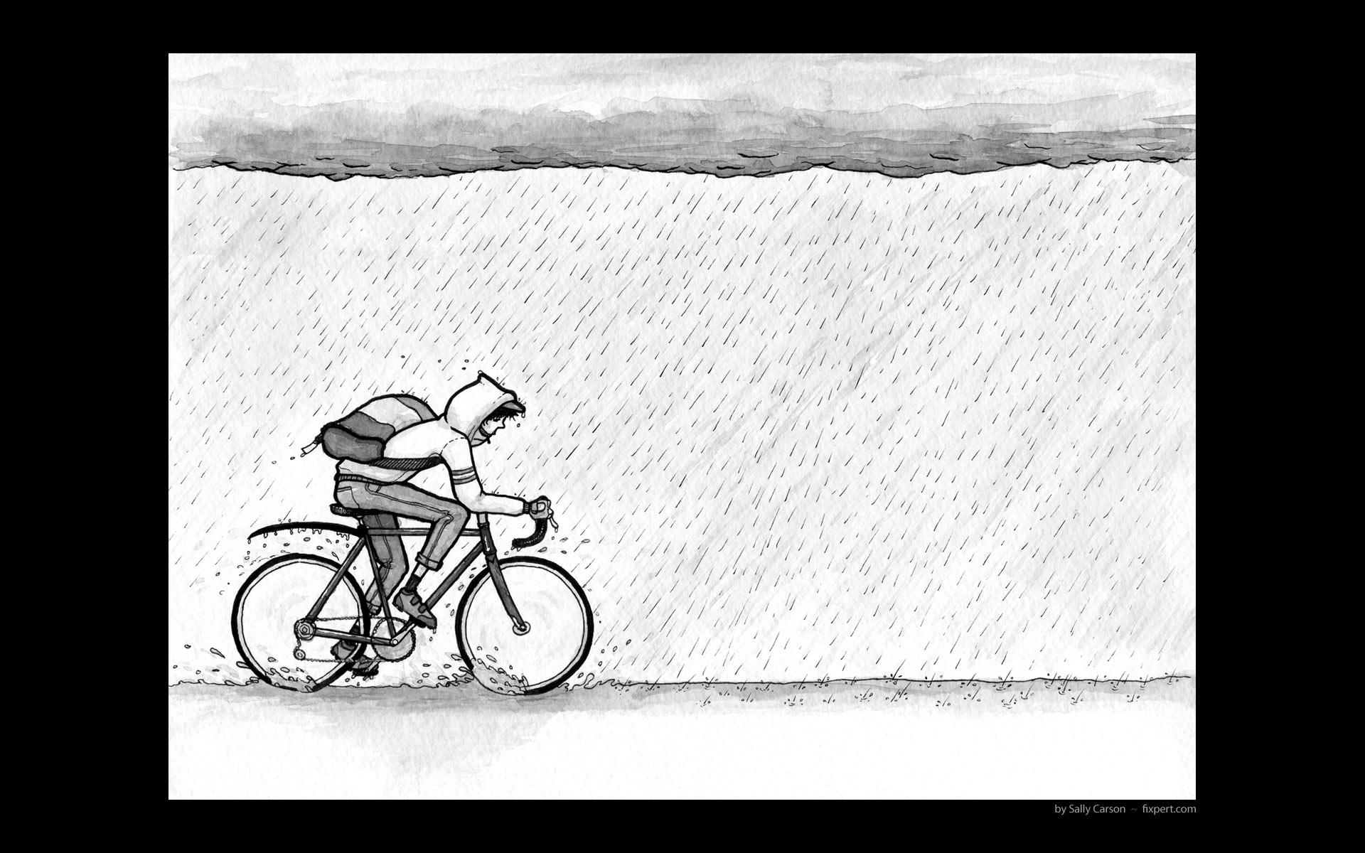 Rainy Day Cyclist 1920 x 1200
