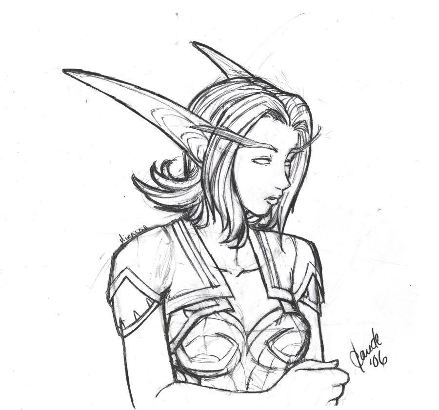 Night-Elf Miralda sketch by Thally
