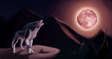 Red Moon Calling - Wolf Link by Thally