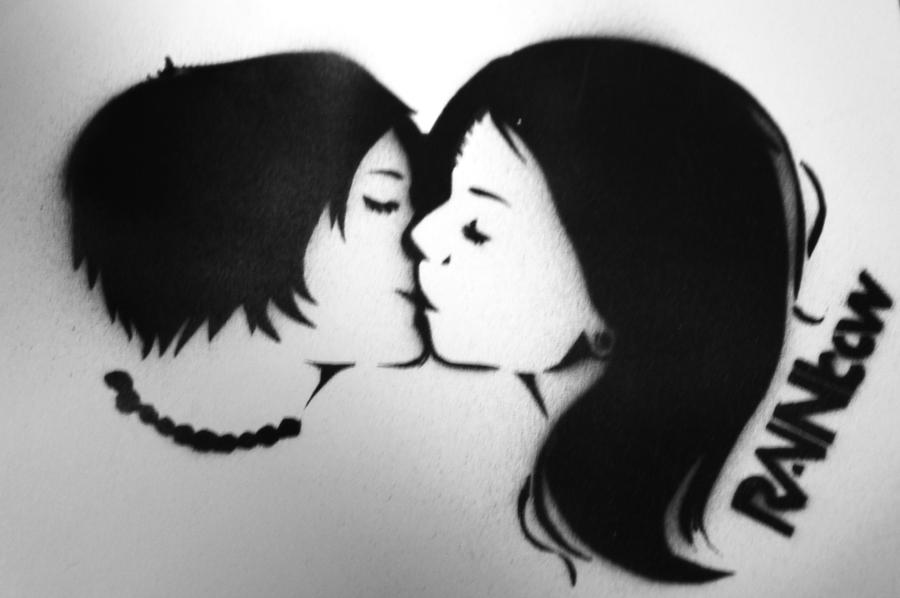 kiss stencil by deathlycupcake