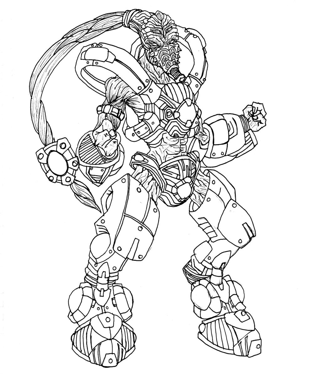 starcraft coloring pages - protoss zealot by kerberos of hades on deviantart