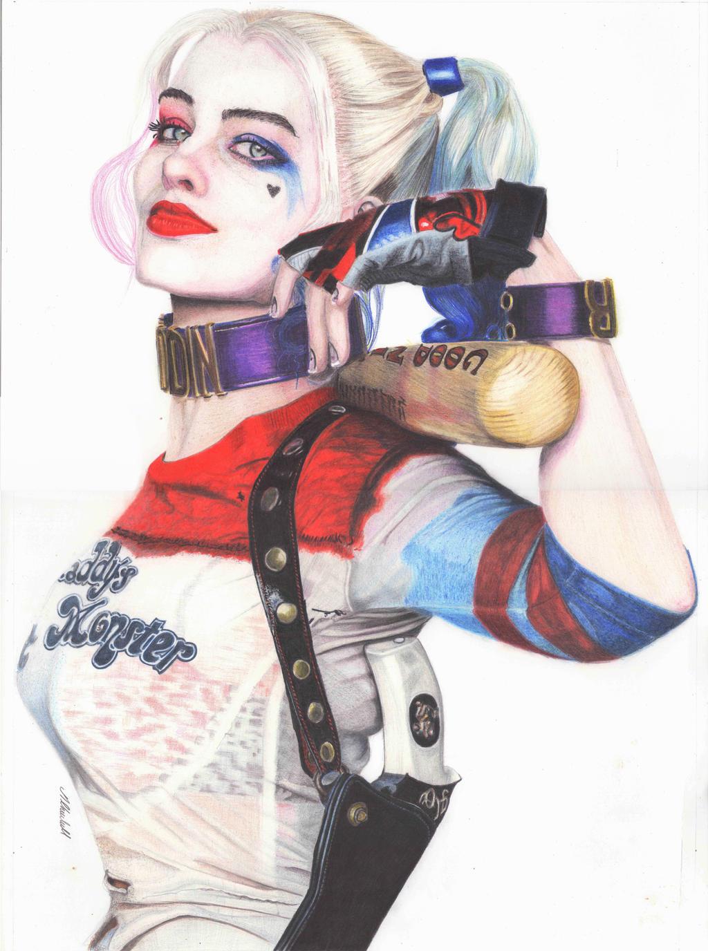 Harley Quinn (Margot Robbie) [colour Pencil] by mchurchill1982
