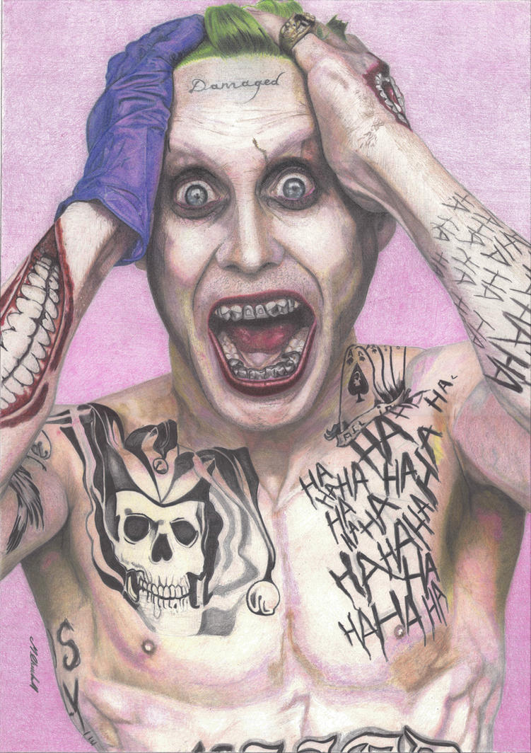 Coloured pencil Joker (Jared Leto) by mchurchill1982