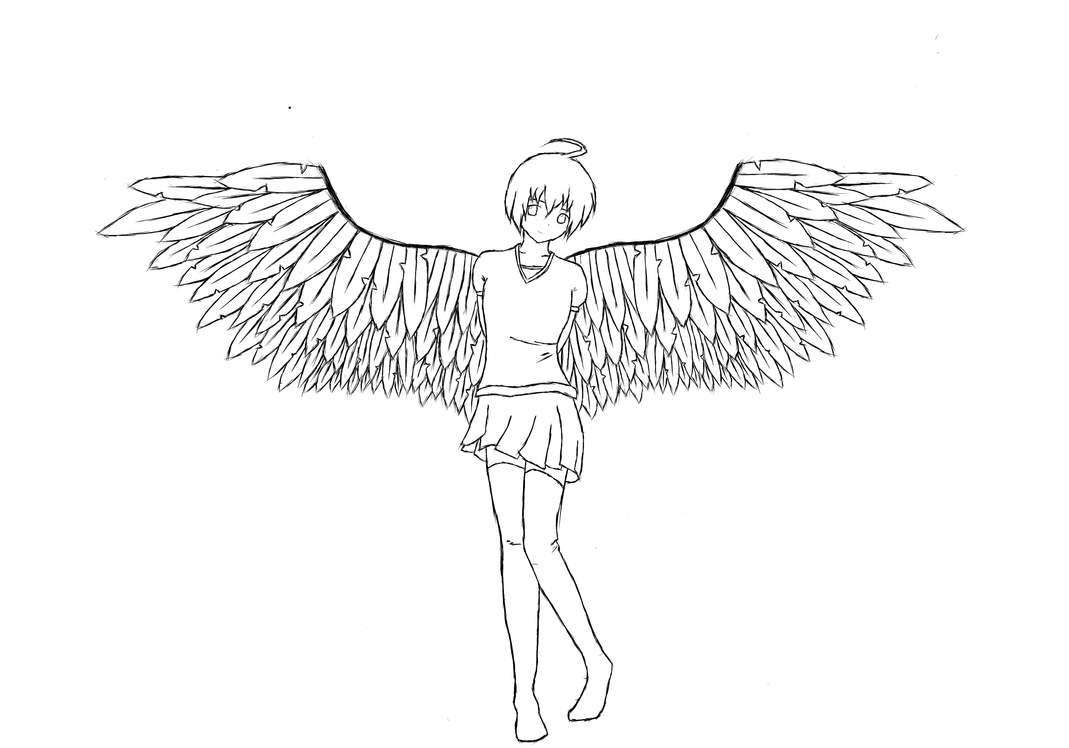 Line Art Angel : Angel girl line art by staytha on deviantart