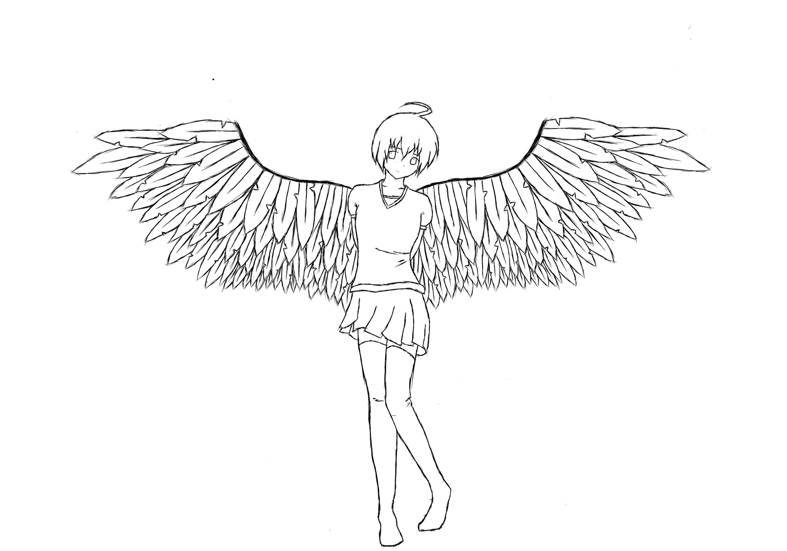 Angel Girl Line Art By Staytha