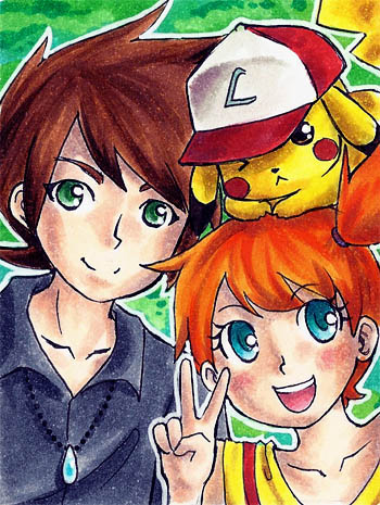 Gary, Misty + Pikachu by SANACHI on DeviantArt