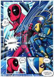 Deadpool vs Deathstroke with text baloons