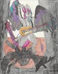 Shreddy the Foxy Dutch Angel Dragon jamming out