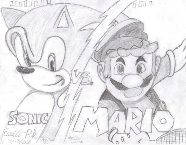 Mario vs. Sonic by monkeyzblu on DeviantArt