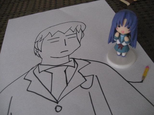 Ryoko draws Kyon by drockNation on deviantART