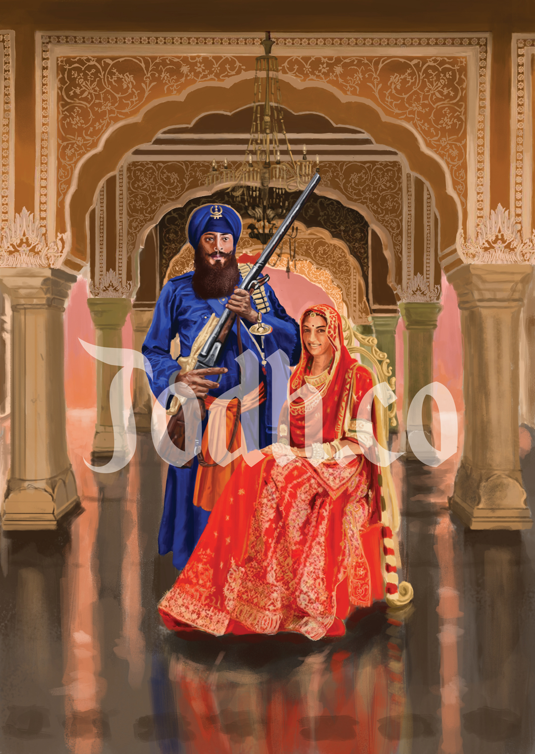 Traditional Khalsa Wedding Portrait by JodhpurCollection