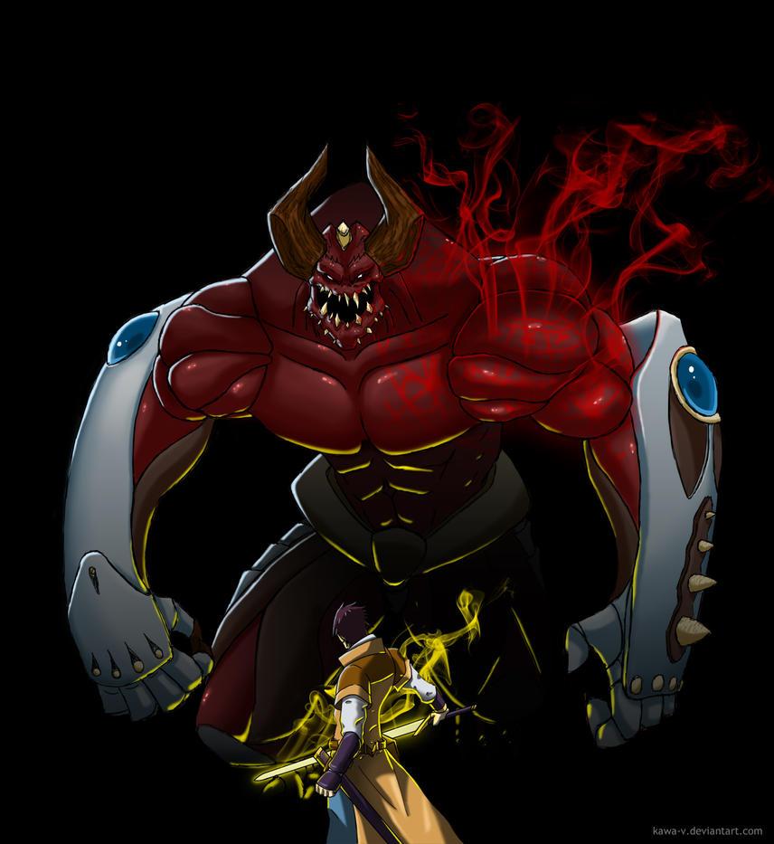 Commission: Ki vs Demon by Kawa-V