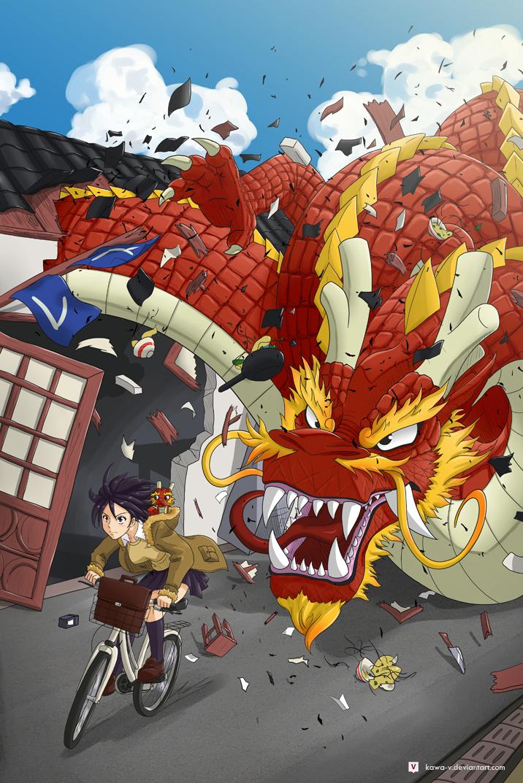 Dragon and Bicycle by Kawa-V