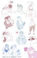 [IV] Hugs n' kisses (doodle dump) by hellebee